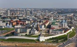 Panorama av Kazan i luften Arkivbild