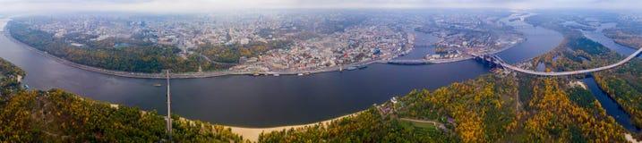 Panorama av Kiev från quadrocopteren Arkivfoton