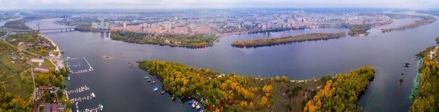 Panorama av Kiev från quadrocopteren Arkivbilder