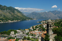 Panorama av Kotor Arkivfoto