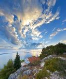 Panorama av kusten, öar och den gamla staden, Kroatien Dalmatia Arkivbild