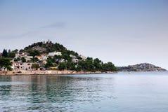 Panorama av kusten, öar och den gamla staden, Kroatien Dalmatia Royaltyfri Fotografi