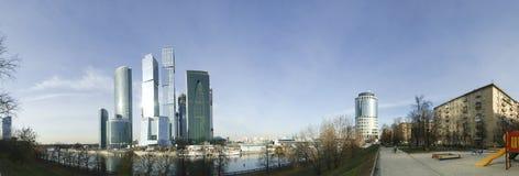 Panorama av landskampaffärscentrumet (stad), Moscow Arkivfoto