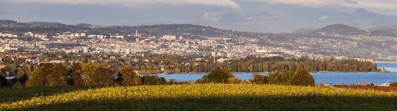 Panorama av Lausanne Royaltyfri Foto
