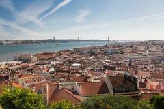 Panorama av Lissabon, Portugal Arkivbild