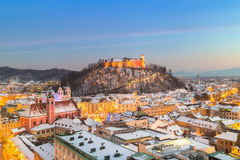 Panorama av Ljubljana i vinter Slovenien Europa Royaltyfri Bild