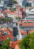 Panorama av Ljubljana, Slovenien Arkivbilder