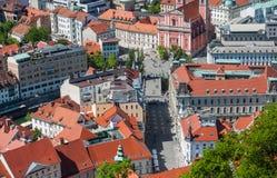 Panorama av Ljubljana, Slovenien Royaltyfri Fotografi