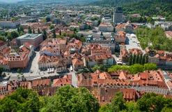 Panorama av Ljubljana, Slovenien Fotografering för Bildbyråer