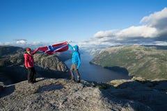 Panorama av Lysefjord, Norge Arkivbild