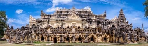 Panorama av Maha Aungmye Bonzan Monastery, Inwa forntida stad, Mandalay stat, Myanmar Arkivfoton