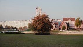 Panorama av mitten av Minsk white f?r republik f?r bakgrundsbelarus pass stads- liggande lager videofilmer