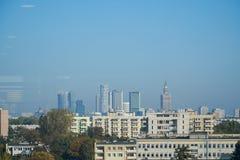 Panorama av moderna byggnader i Warszawa, Polen royaltyfri foto