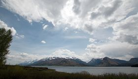 Panorama av monteringen Moran och tusen dollar Teton når en höjdpunkt under stackmolnmoln på Jackson Lake i den storslagna Teton  fotografering för bildbyråer