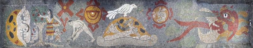 Panorama av mosaiken inom Museo Anahuacalli royaltyfri foto