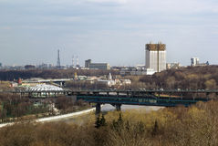 Panorama av Moskva från sparvkullar, Ryssland Royaltyfri Fotografi