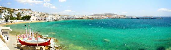 Panorama av Mykonos Chora, Mykonos ö, Cyclades skärgård, Royaltyfri Bild