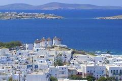 Panorama av Mykonos, Grekland Arkivbild