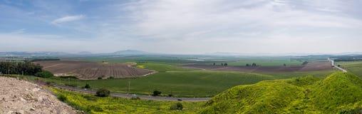 Panorama av nationalparken för telefon Megiddo Arkivfoton