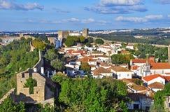 Panorama av Obidos, Portugal Royaltyfri Foto