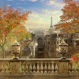 Panorama av Paris, Frankrike, Montmartre Royaltyfria Bilder