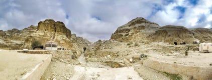 Panorama av Petra, Jordanien arkivbild