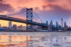 Panorama av Philadelphia horisont Royaltyfria Bilder
