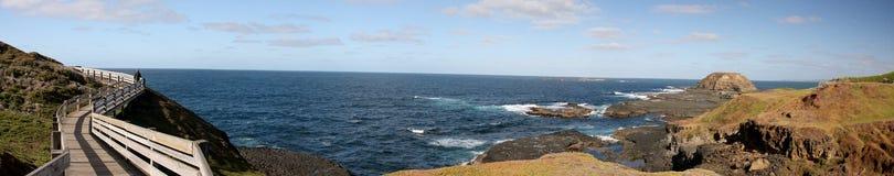 Panorama av Phillip Island Nature Park på pingvinet ståtar royaltyfri bild