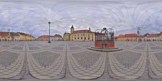panorama 360 av Piata Mare i Sibiu, Rumänien Arkivfoton