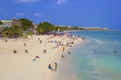 Panorama av Playa del Carmenstranden, Mexico Arkivbilder