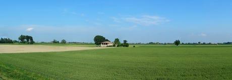 Panorama av Po-dalen i bygden av bolognaen, Italien arkivfoton