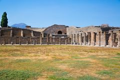 Panorama av Pompei, Italien Arkivbilder
