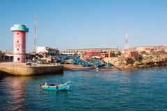 Panorama av port Imsouane Marocko 10 januari 2017 Royaltyfri Fotografi
