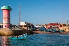 Panorama av port Imsouane Marocko 10 januari 2017 Royaltyfria Foton