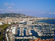 Panorama av porten av Cannes Arkivfoton