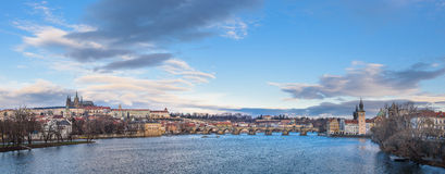 Panorama av Prague Arkivbilder