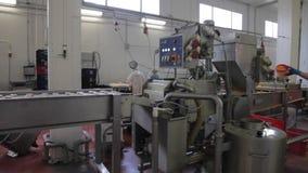 Panorama av produktionslinjen stock video