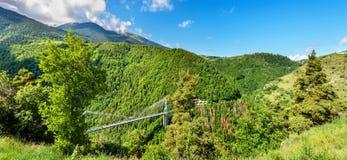 Panorama av Pyrenees med den Cassagne bron Royaltyfri Foto