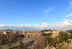 Panorama av Rome, sikt från den Giardino deglien Aranci italy Arkivfoto