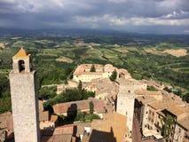 Panorama av San Gimignano i Chianti royaltyfri bild