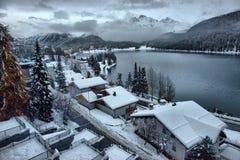 Panorama av Sankt Moritz Saint Moritz, San Maurizio arkivbilder