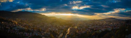 Panorama av Sarajevo Royaltyfria Bilder