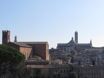 Panorama av Siena med den storstads- domkyrkan av St Mary av antagandet och basilikan av San Domenico Tuscany Ital arkivfoton