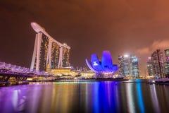 Panorama av Singapore Arkivbilder