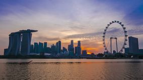 Panorama of Singapore at Sunset. Time Lapse Stock Footage