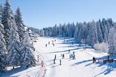 Panorama av skidar semesterorten Kopaonik, Serbien, folket som skidar, hus som täckas med snö Arkivbilder