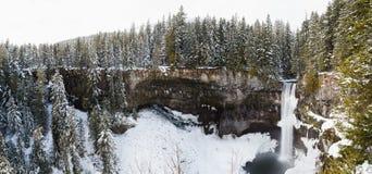 Panorama av skogen runt om Brandywine faller i vinter arkivfoto