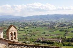 Panorama av slätten av Assisi, Italien Royaltyfri Fotografi