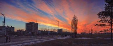 Panorama av solnedgången Arkivbilder