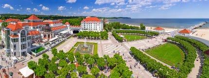Panorama av Sopot på Östersjön i Polen Fotografering för Bildbyråer